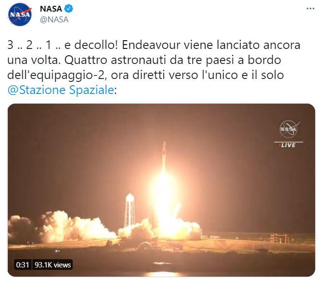 Spazio, NASA: lanciato Crew Dragon di SpaceX verso Stazione Spaziale